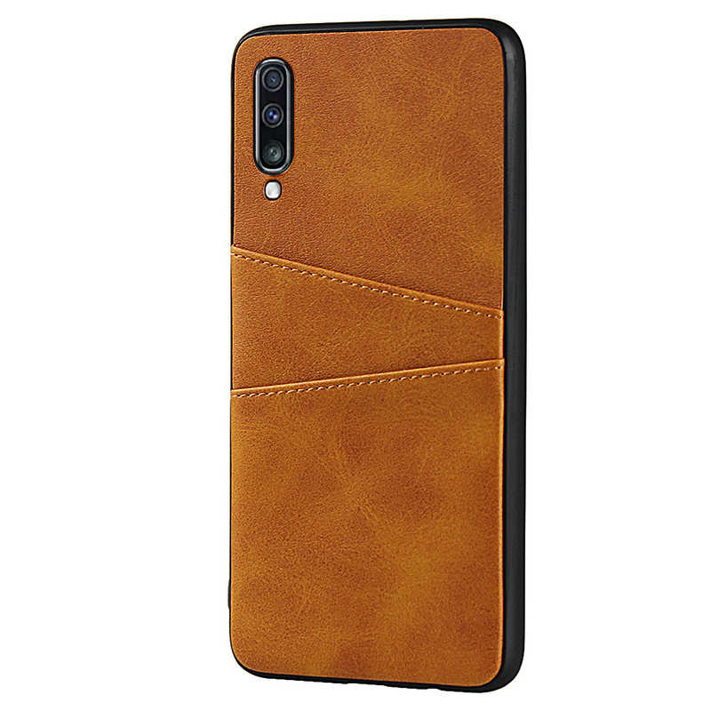 cheap For Samsung Galaxy A70 Leather Wallet Card Holder Case Cover+Screen Protector - Brown
