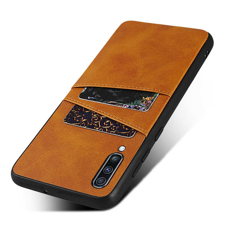 top quality For Samsung Galaxy A70 Leather Wallet Card Holder Case Cover+Screen Protector - Brown