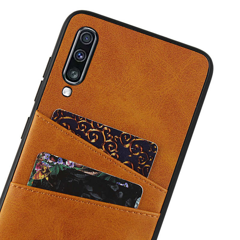 best price For Samsung Galaxy A70 Leather Wallet Card Holder Case Cover+Screen Protector - Brown