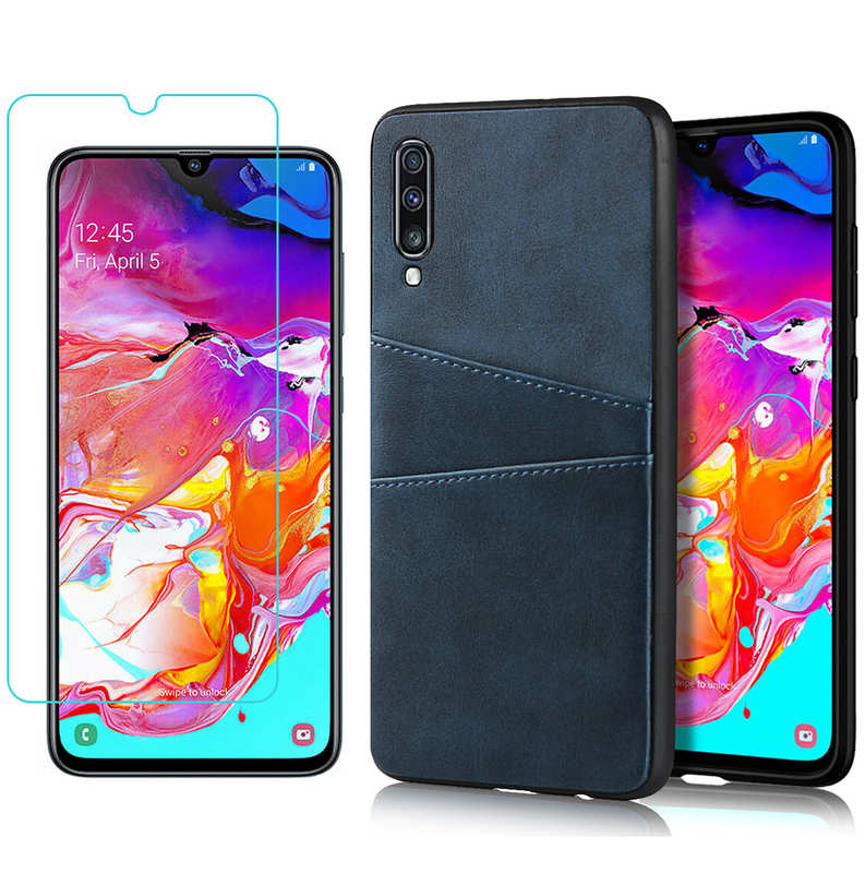 wholesale For Samsung Galaxy A70 Leather Wallet Card Holder Case Cover+Screen Protector - Navy Blue