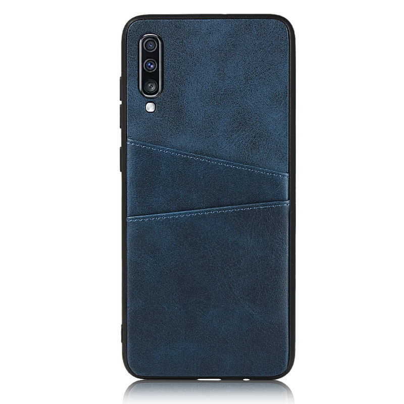 discount For Samsung Galaxy A70 Leather Wallet Card Holder Case Cover+Screen Protector - Navy Blue