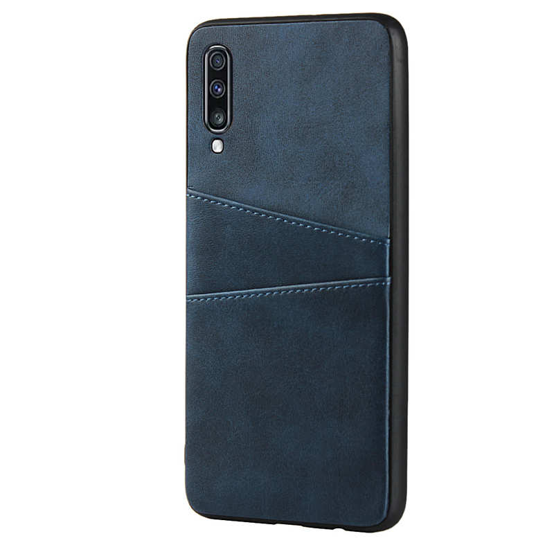 cheap For Samsung Galaxy A70 Leather Wallet Card Holder Case Cover+Screen Protector - Navy Blue
