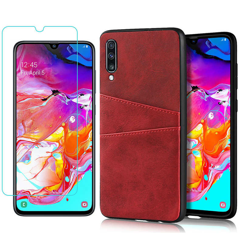 wholesale For Samsung Galaxy A70 Leather Wallet Card Holder Case Cover+Screen Protector - Red