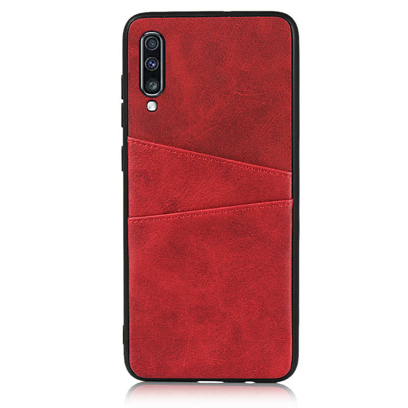 discount For Samsung Galaxy A70 Leather Wallet Card Holder Case Cover+Screen Protector - Red