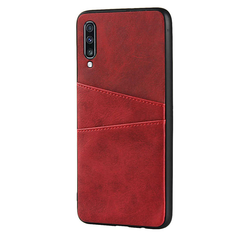 cheap For Samsung Galaxy A70 Leather Wallet Card Holder Case Cover+Screen Protector - Red