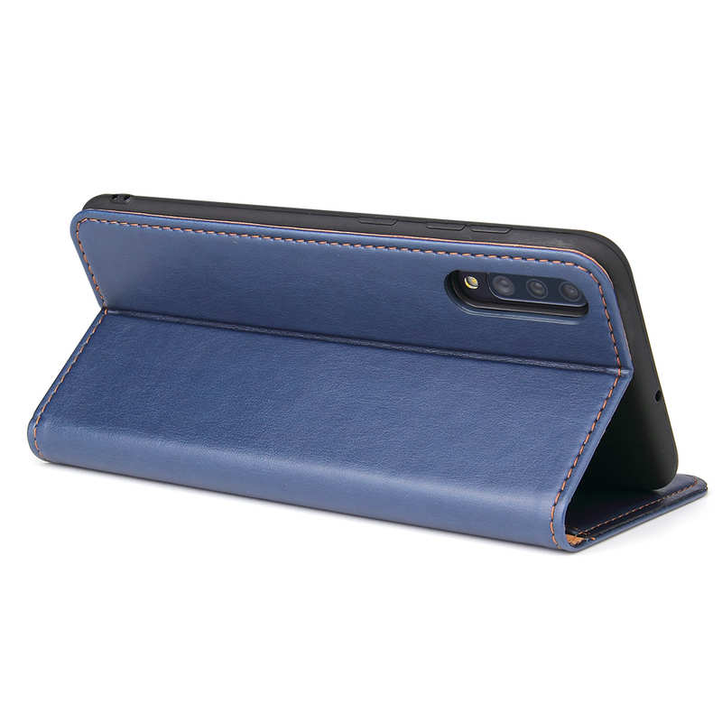 top quality For Samsung Galaxy A70 Stand Flip Leather Case - Blue