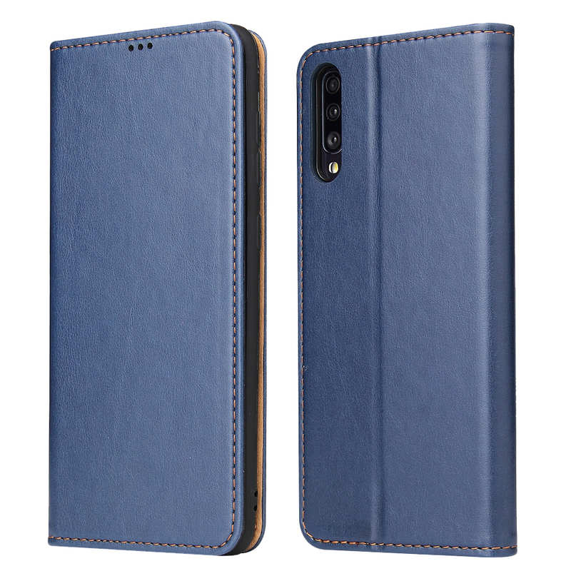 wholesale For Samsung Galaxy A70 Stand Flip Leather Case - Blue