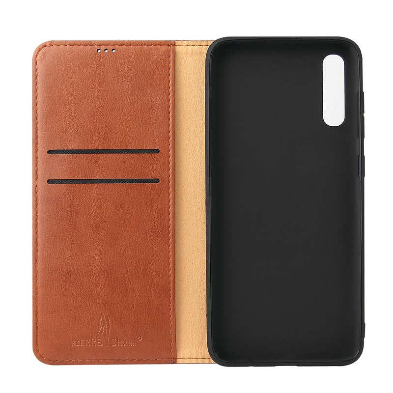 cheap For Samsung Galaxy A70 Stand Flip Leather Case - Brown