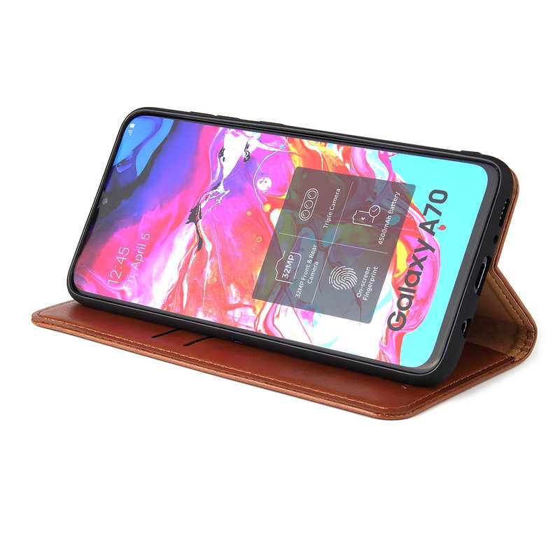 discount For Samsung Galaxy A70 Stand Flip Leather Case - Brown