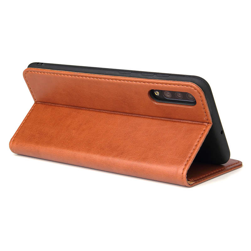 top quality For Samsung Galaxy A70 Stand Flip Leather Case - Brown