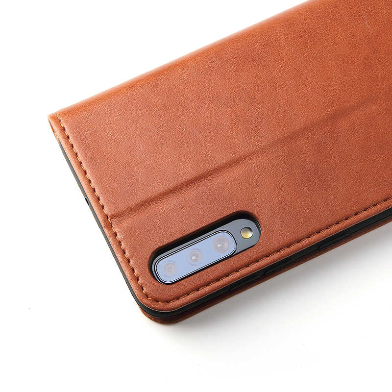 best price For Samsung Galaxy A70 Stand Flip Leather Case - Brown