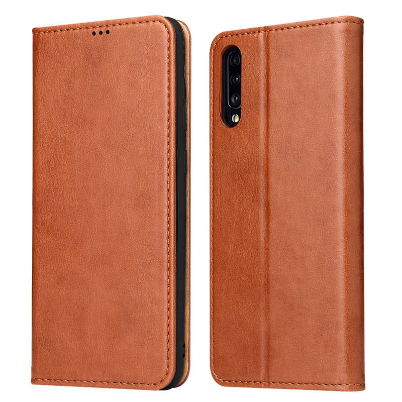 wholesale For Samsung Galaxy A70 Stand Flip Leather Case - Brown