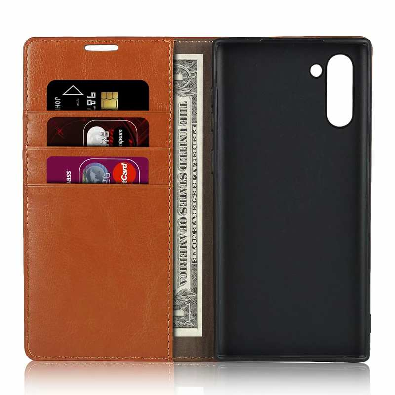 top quality For Samsung Galaxy Note 10 Crazy Horse Genuine Leather Case - Brown