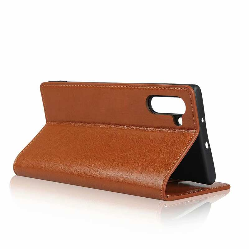 best price For Samsung Galaxy Note 10 Crazy Horse Genuine Leather Case - Brown