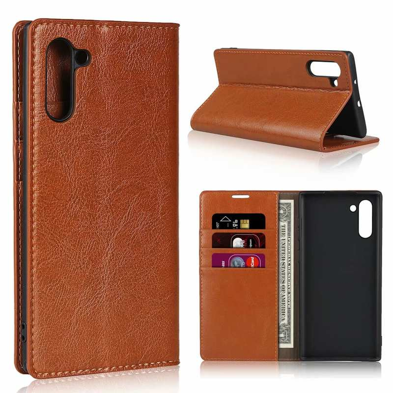 wholesale For Samsung Galaxy Note 10 Crazy Horse Genuine Leather Case - Brown