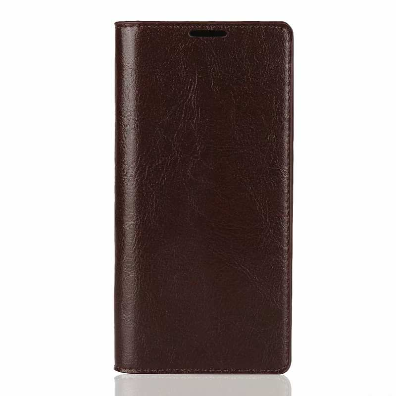 discount For Samsung Galaxy Note 10 Crazy Horse Genuine Leather Case - Dark Brown