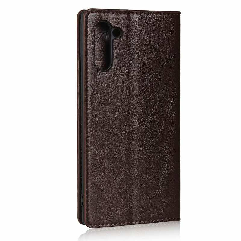 cheap For Samsung Galaxy Note 10 Crazy Horse Genuine Leather Case - Dark Brown