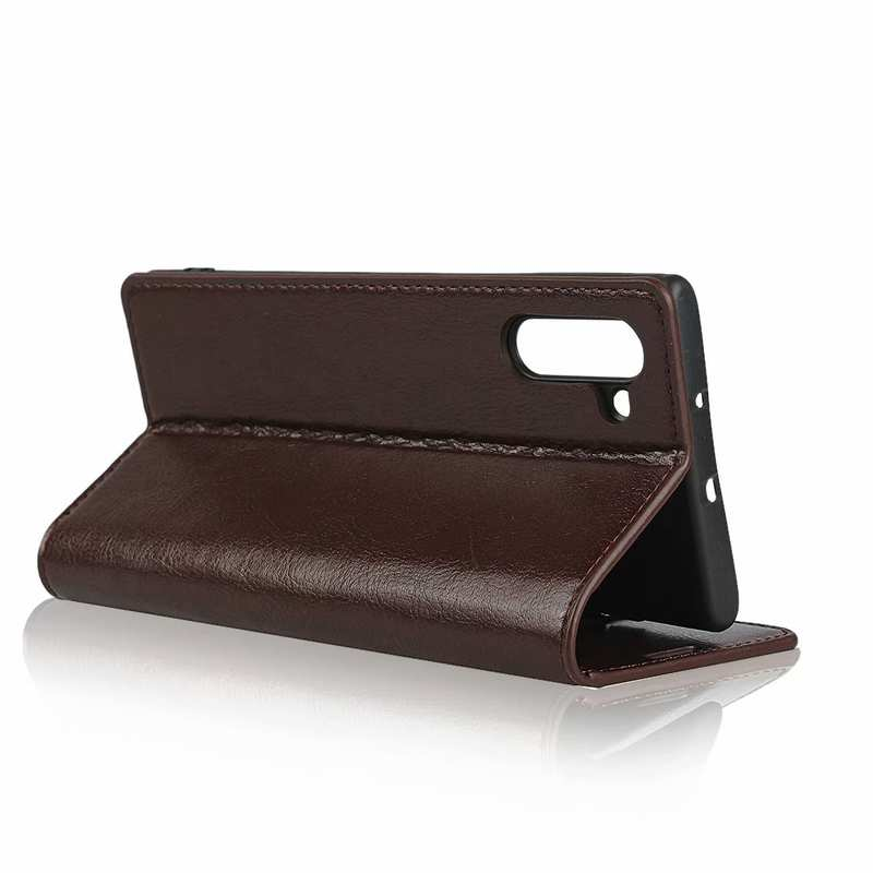 best price For Samsung Galaxy Note 10 Crazy Horse Genuine Leather Case - Dark Brown