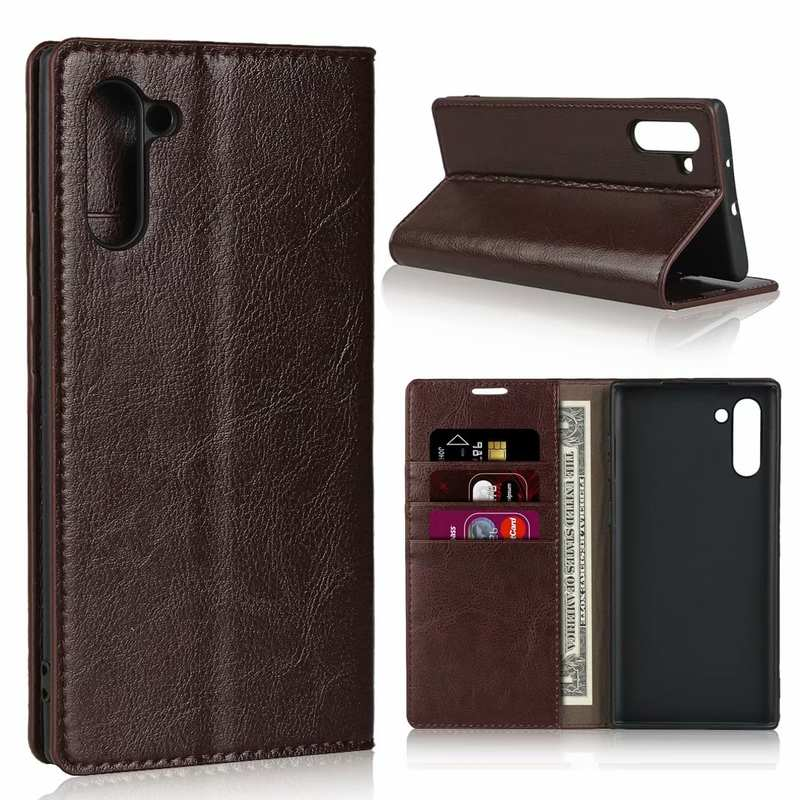 wholesale For Samsung Galaxy Note 10 Crazy Horse Genuine Leather Case - Dark Brown