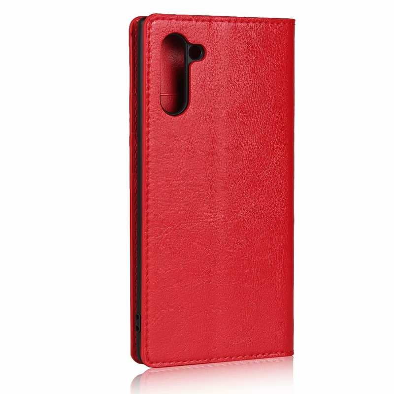 cheap For Samsung Galaxy Note 10 Crazy Horse Genuine Leather Case - Red