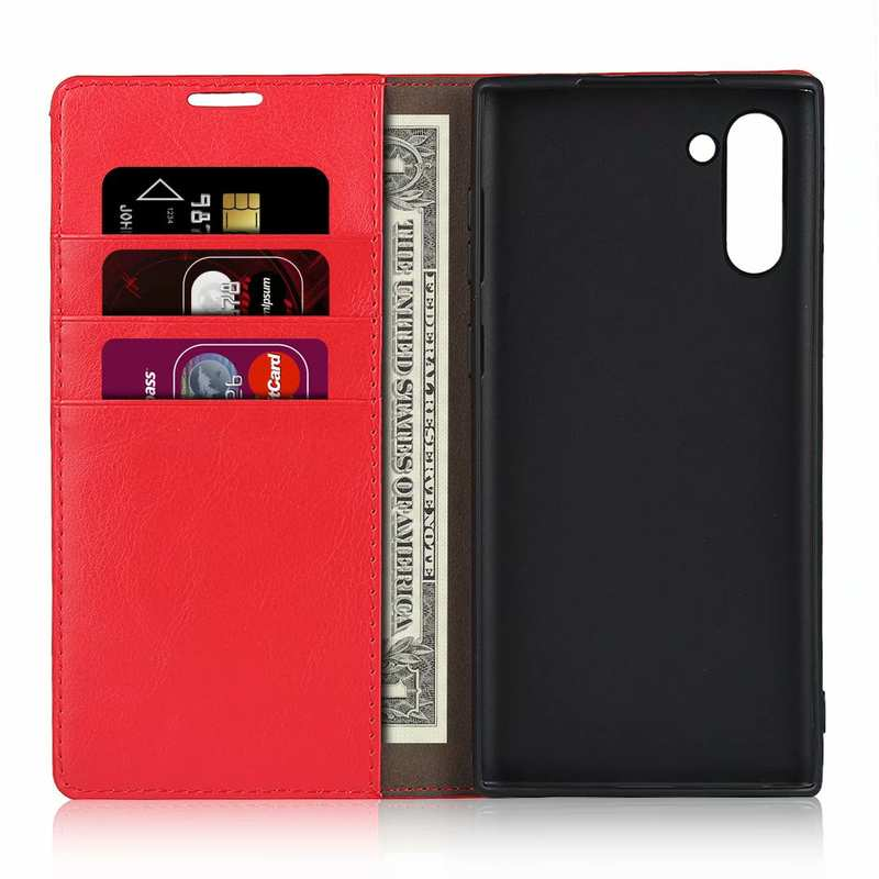 top quality For Samsung Galaxy Note 10 Crazy Horse Genuine Leather Case - Red