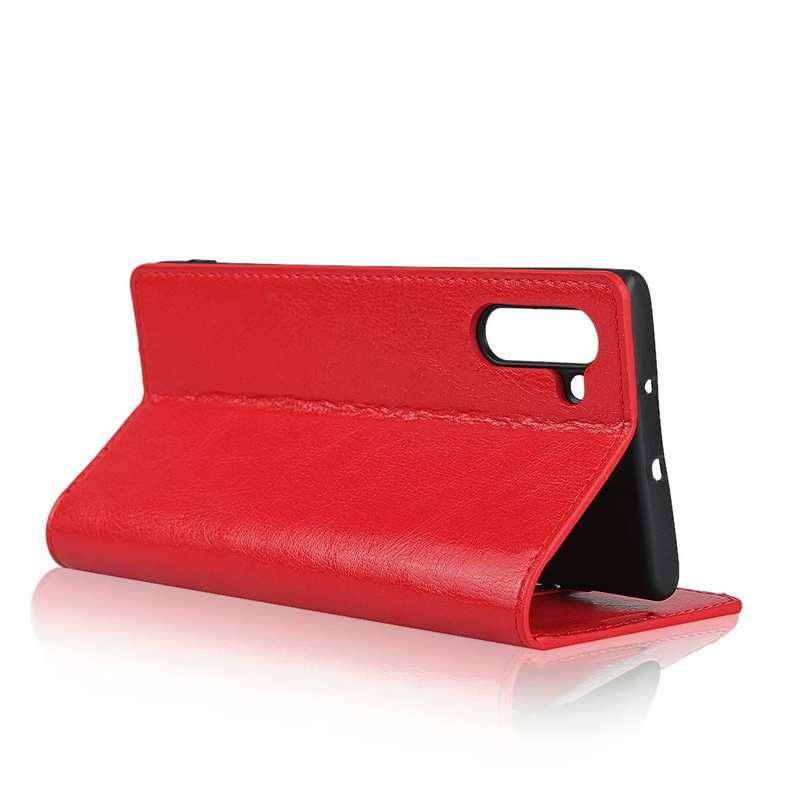 best price For Samsung Galaxy Note 10 Crazy Horse Genuine Leather Case - Red