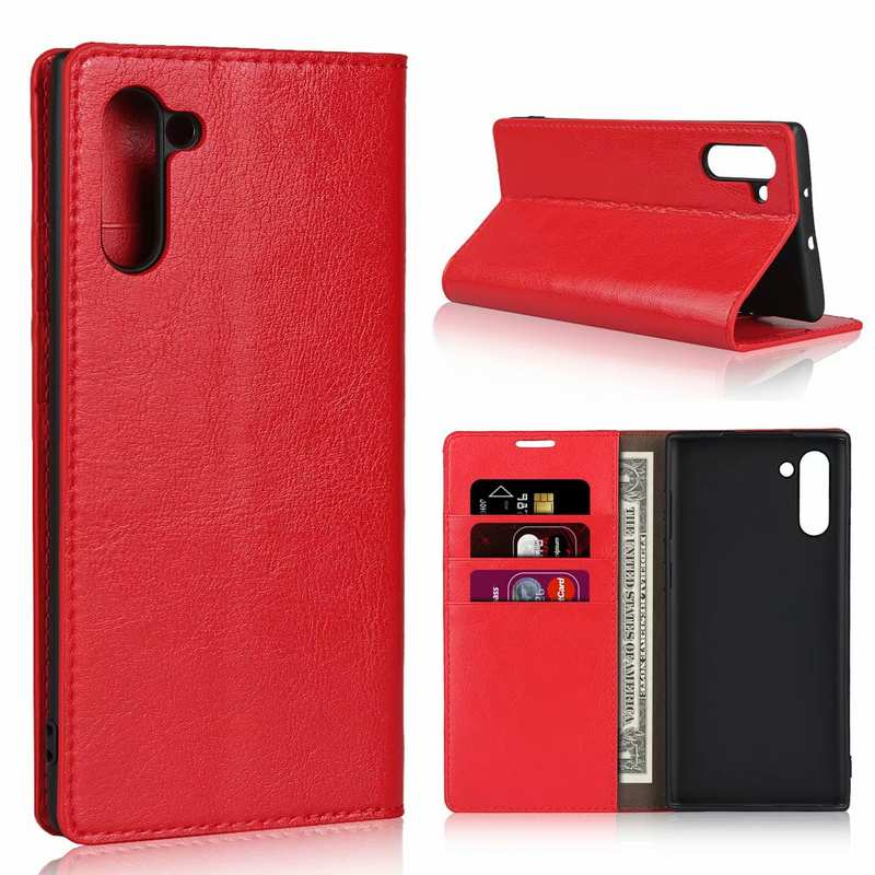 wholesale For Samsung Galaxy Note 10 Crazy Horse Genuine Leather Case - Red