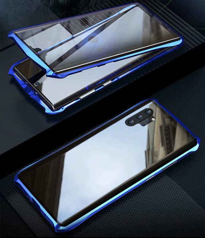top quality For Samsung Galaxy Note 10 Luxury Double Side Glass 360° Metal Magnetic Case - Blue