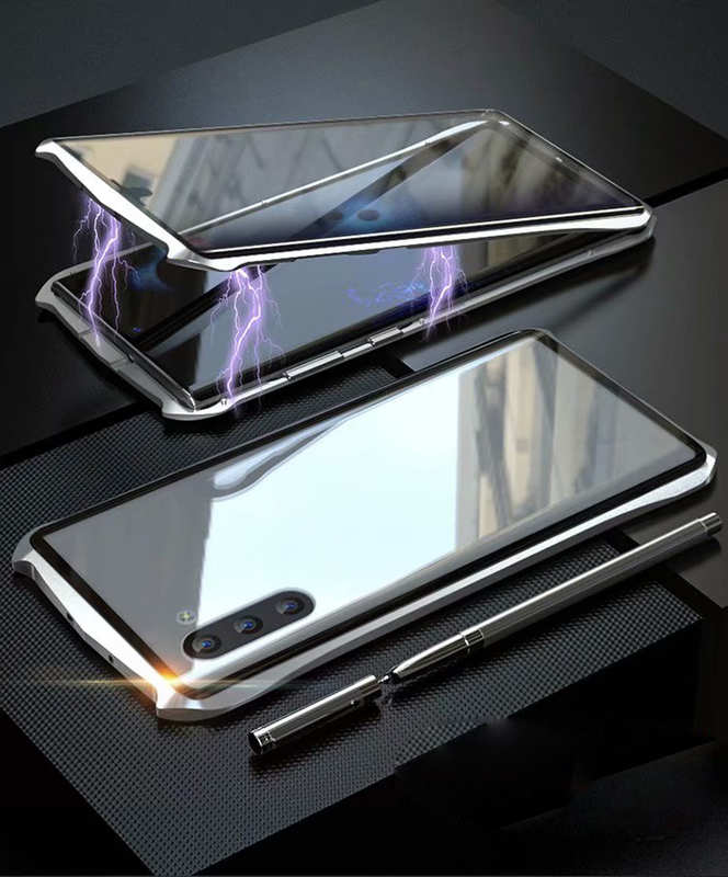 discount For Samsung Galaxy Note 10 Luxury Double Side Glass 360° Metal Magnetic Case - Silver
