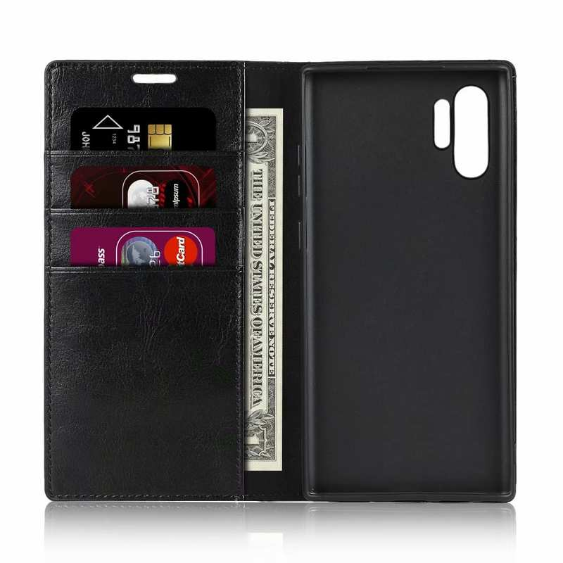 cheap For Samsung Galaxy Note 10 Pro Crazy Horse Genuine Leather Wallet Case - Black
