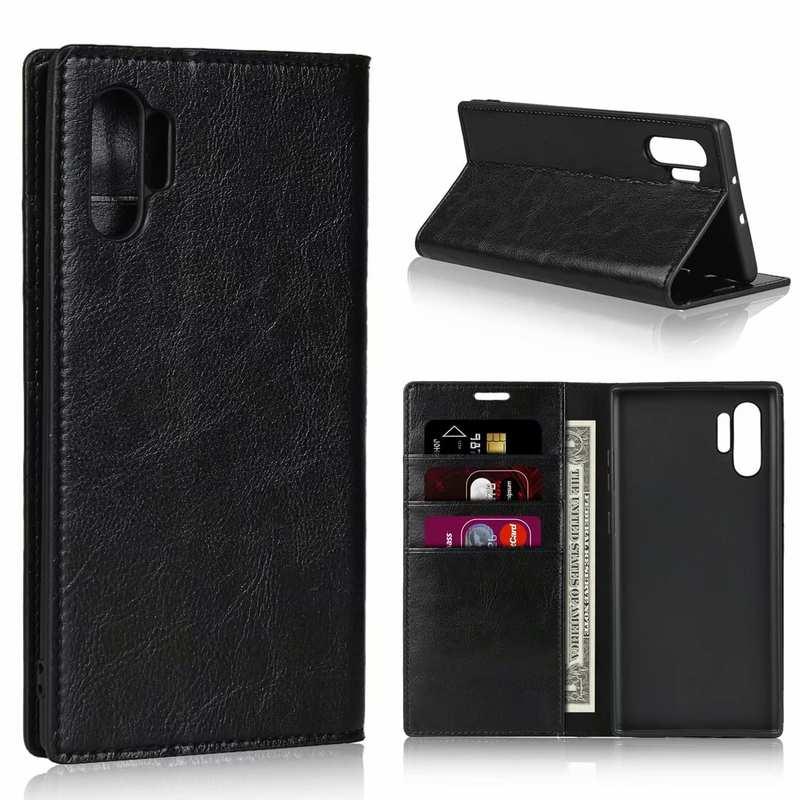 wholesale For Samsung Galaxy Note 10 Pro Crazy Horse Genuine Leather Wallet Case - Black