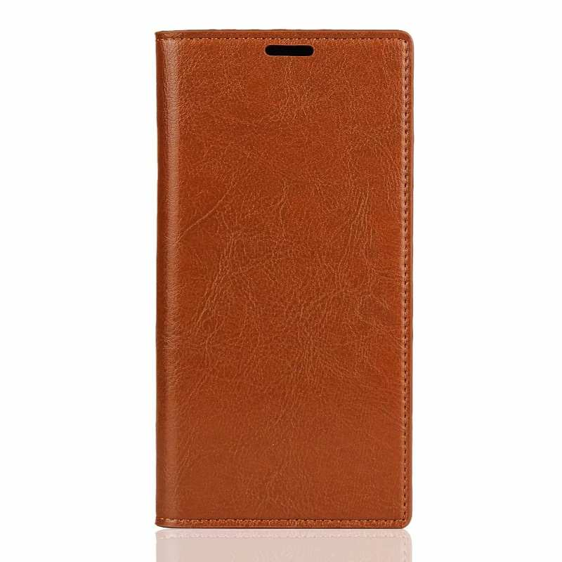 discount For Samsung Galaxy Note 10 Pro Crazy Horse Genuine Leather Wallet Case - Brown
