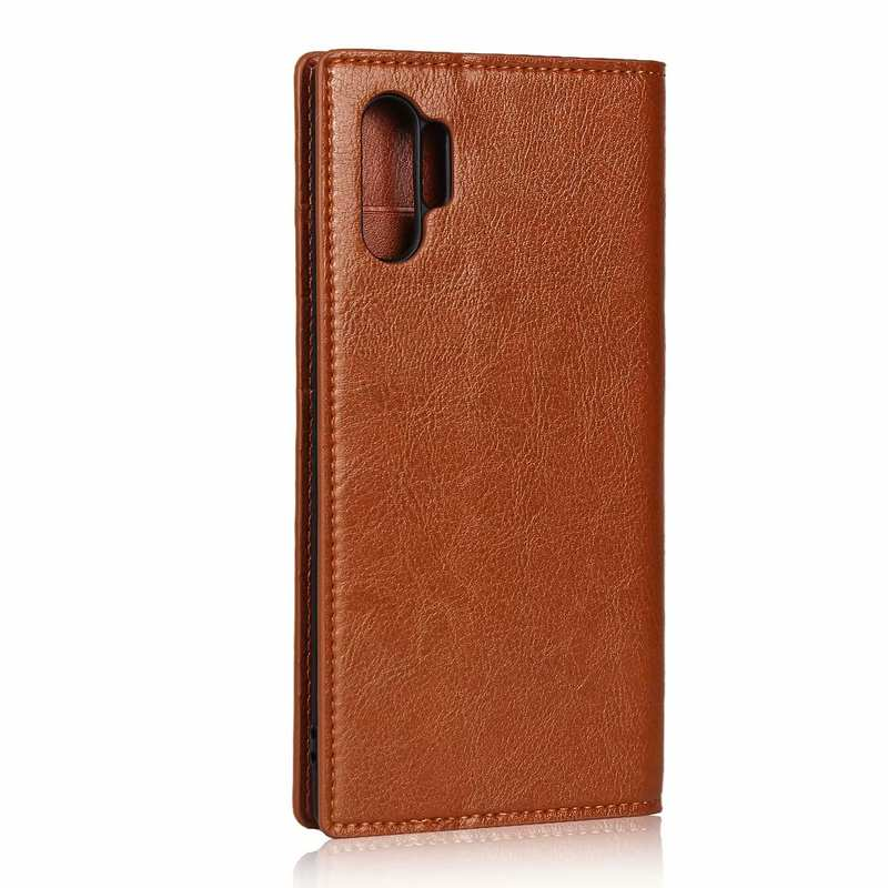 cheap For Samsung Galaxy Note 10 Pro Crazy Horse Genuine Leather Wallet Case - Brown