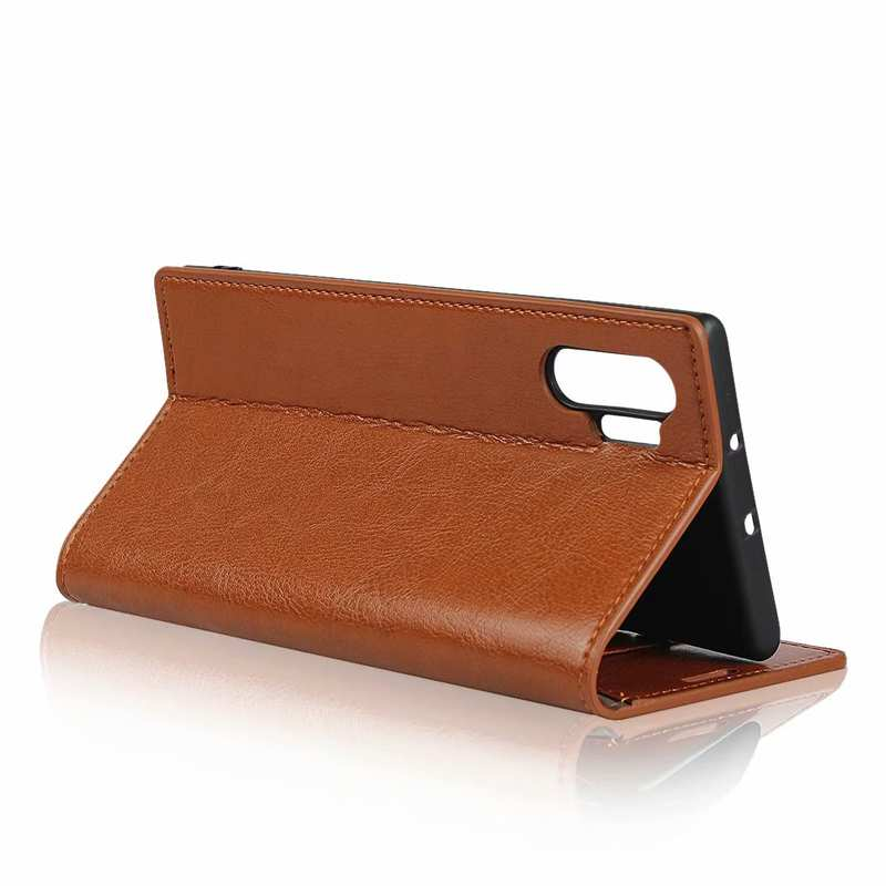 best price For Samsung Galaxy Note 10 Pro Crazy Horse Genuine Leather Wallet Case - Brown