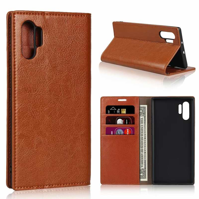 wholesale For Samsung Galaxy Note 10 Pro Crazy Horse Genuine Leather Wallet Case - Brown