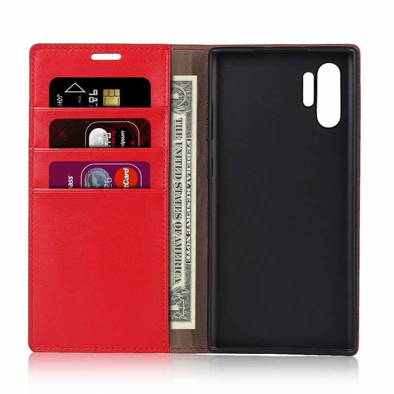 top quality For Samsung Galaxy Note 10 Pro Crazy Horse Genuine Leather Wallet Case - Red