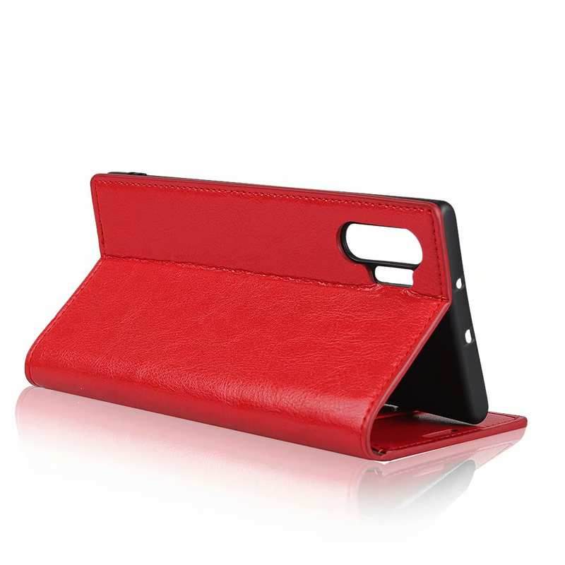 best price For Samsung Galaxy Note 10 Pro Crazy Horse Genuine Leather Wallet Case - Red