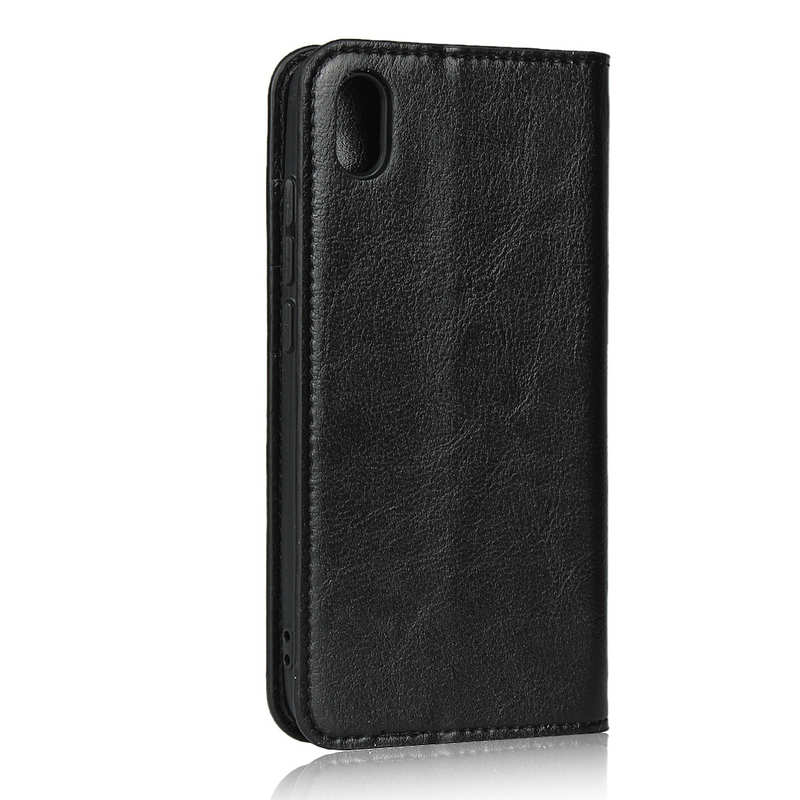 cheap For Xiaomi Redmi 7A - Genuine Leather Card Slots Wallet Case Cover Black