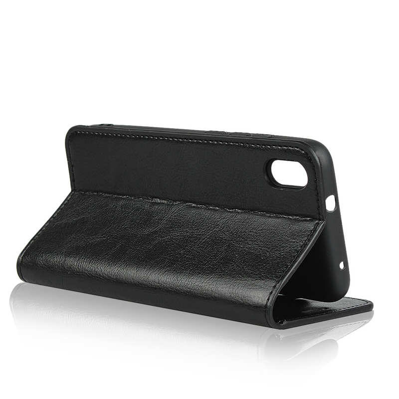 best price For Xiaomi Redmi 7A - Genuine Leather Card Slots Wallet Case Cover Black