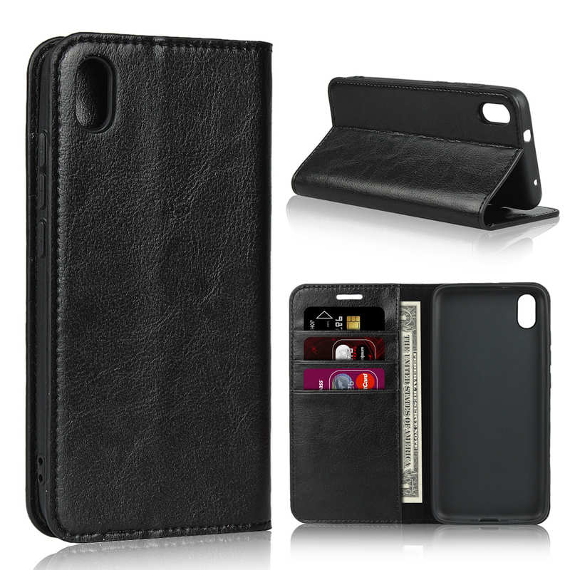 wholesale For Xiaomi Redmi 7A - Genuine Leather Card Slots Wallet Case Cover Black