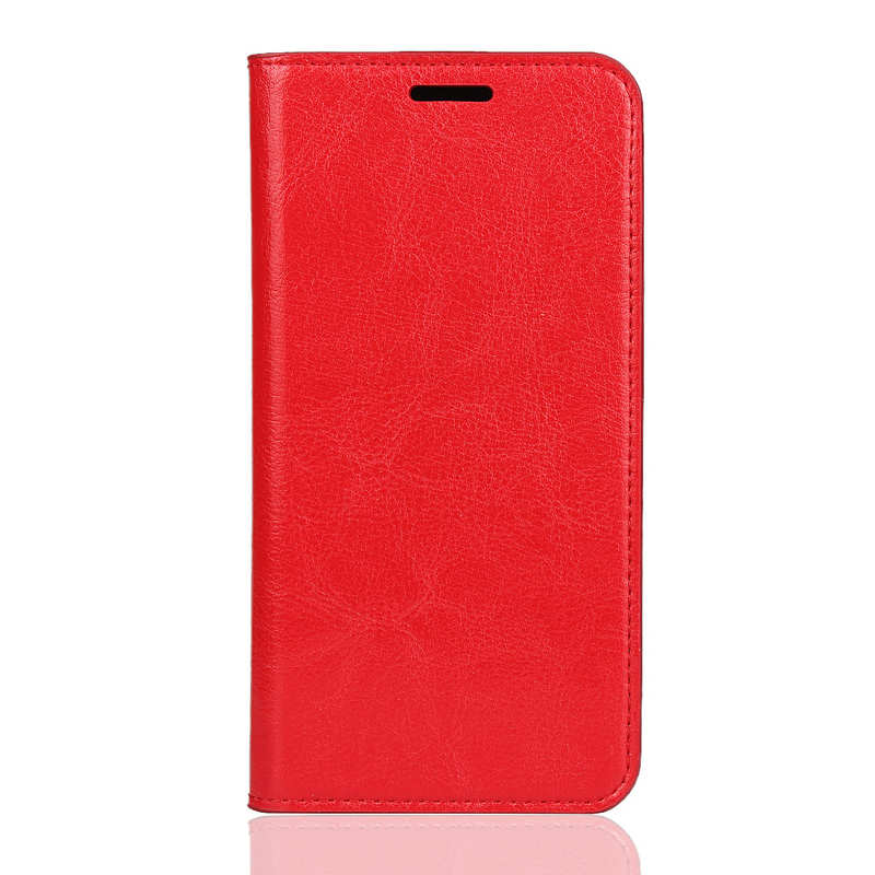 discount For Xiaomi Redmi 7A - Genuine Leather Card Slots Wallet Case Cover Red