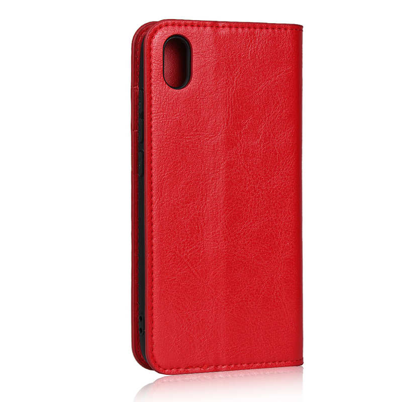 cheap For Xiaomi Redmi 7A - Genuine Leather Card Slots Wallet Case Cover Red
