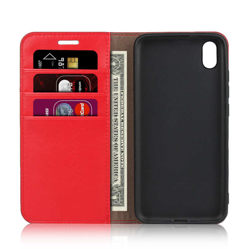 top quality For Xiaomi Redmi 7A - Genuine Leather Card Slots Wallet Case Cover Red