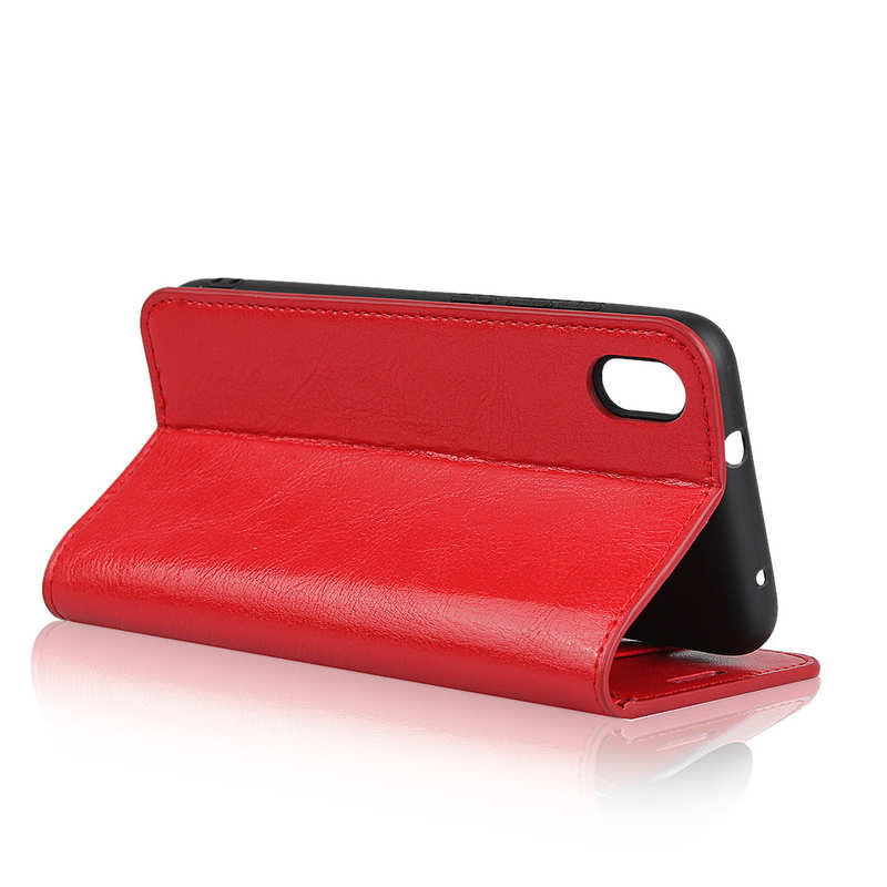best price For Xiaomi Redmi 7A - Genuine Leather Card Slots Wallet Case Cover Red