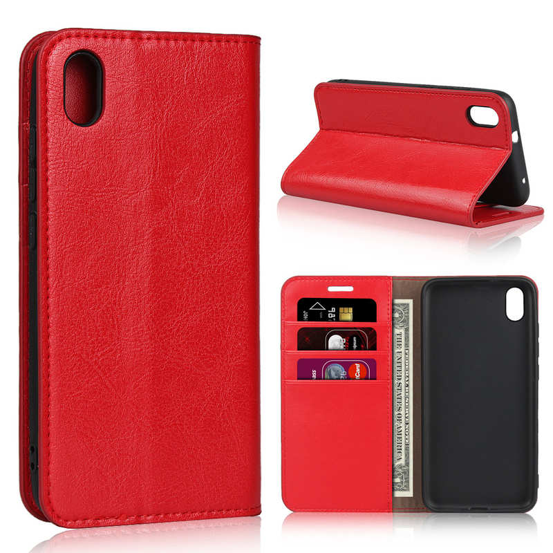 wholesale For Xiaomi Redmi 7A - Genuine Leather Card Slots Wallet Case Cover Red