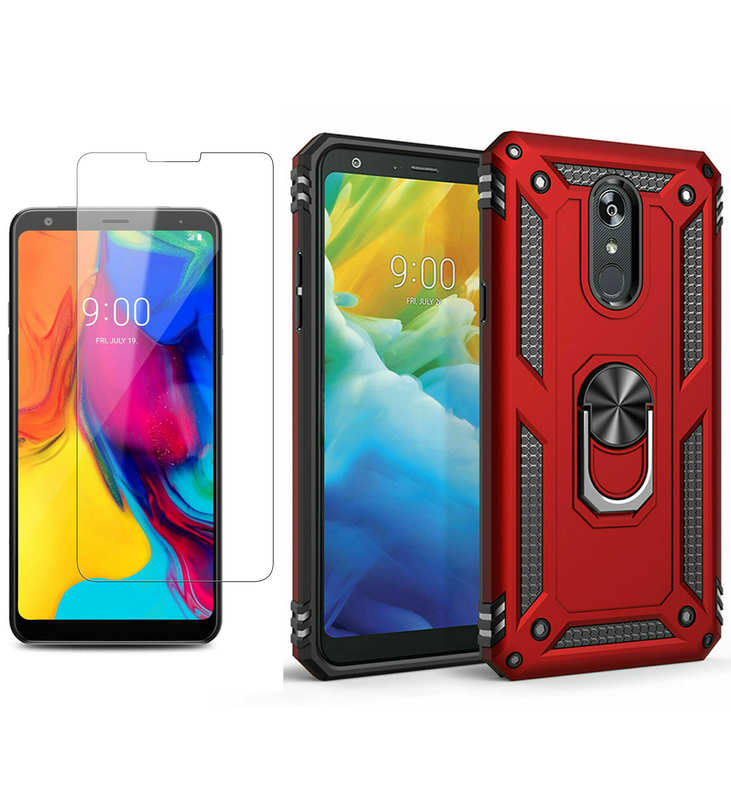 wholesale For LG Stylo 5 / 5 Plus Phone Case Shockproof Hybrid Cover With Screen Protector - Red