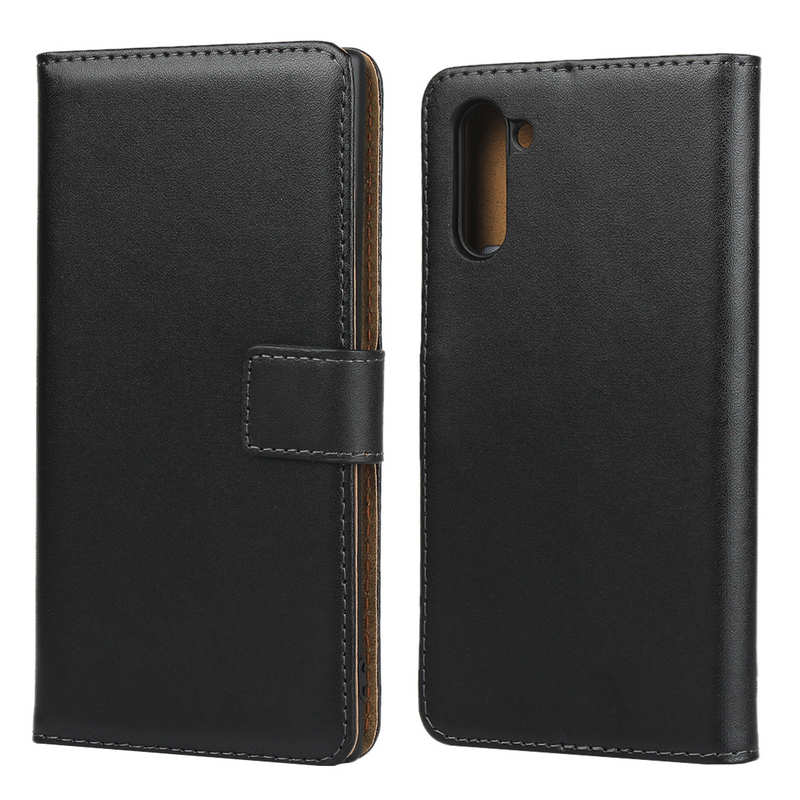 wholesale For Samsung Galaxy Note 10 Genuine Leather Card Holder Wallet Flip Stand Case - Black