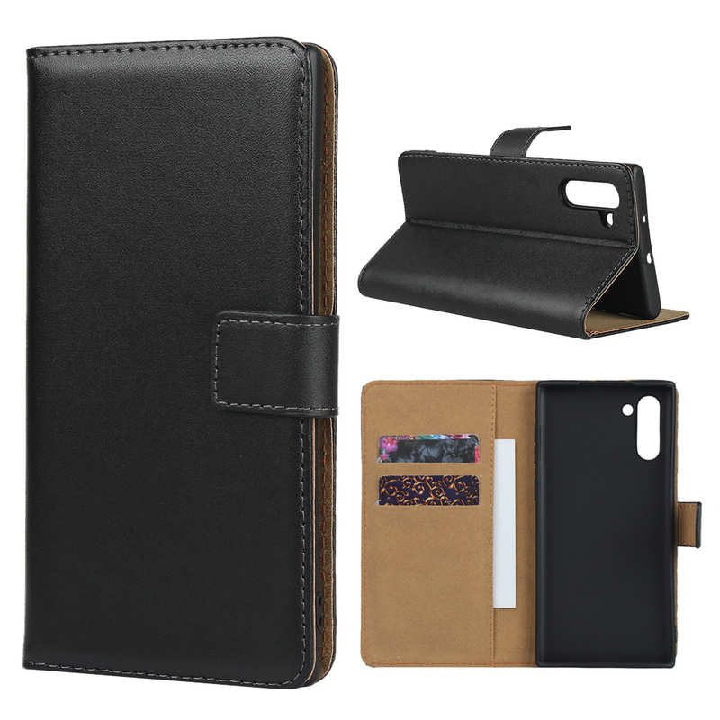 discount For Samsung Galaxy Note 10 Genuine Leather Card Holder Wallet Flip Stand Case - Black