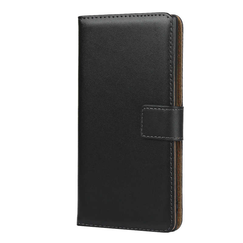 cheap For Samsung Galaxy Note 10 Genuine Leather Card Holder Wallet Flip Stand Case - Black