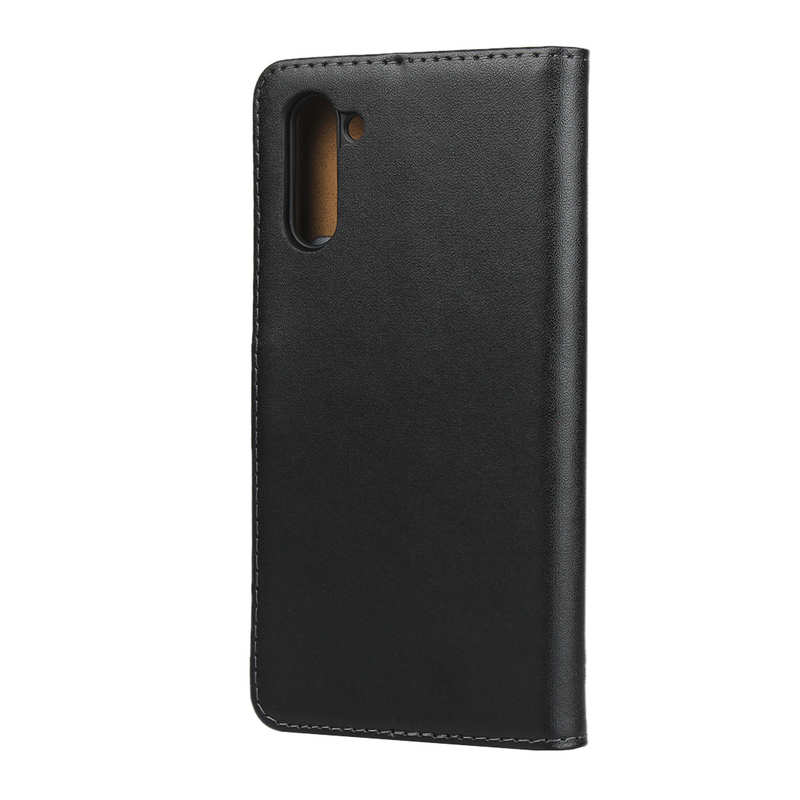 top quality For Samsung Galaxy Note 10 Genuine Leather Card Holder Wallet Flip Stand Case - Black